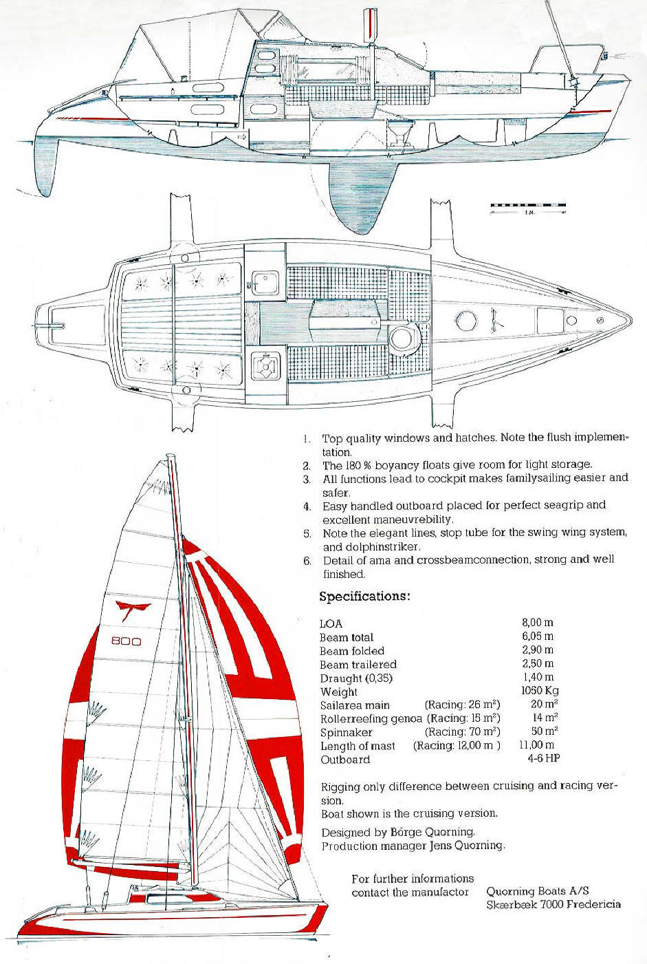 Original Dragonfly 800 Swing Wing brochure by Quorning Boats